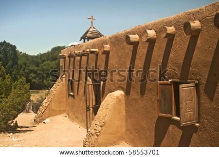 Morada de la Conquistadora in Santa Fe from Rancho de Las Golondrinas - stock photo