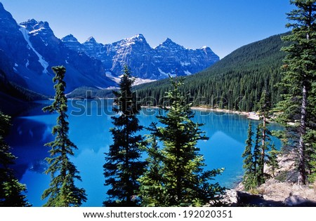 Moraine lake a glacier lake in Canadians Rockies - stock photo