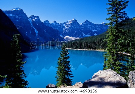 Moraine lake a glacier lake in Canadians Rockies - stock photo
