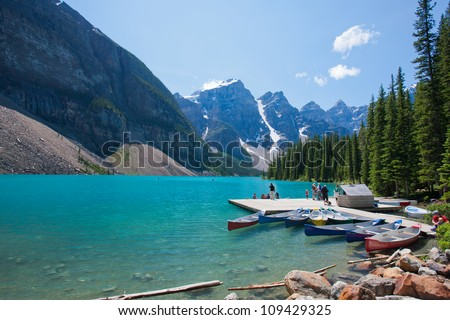 Moraine Lake at Banff National Park, Alberta, Canada - stock photo
