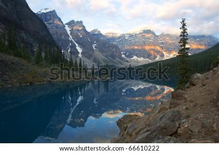Moraine Lake at sunrise, Alberta, Canada. - stock photo