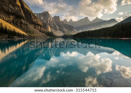 Moraine Lake at sunset in Banff National Park, Canada. - stock photo