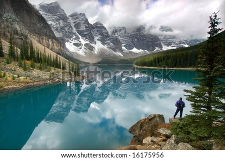 Moraine Lake, Banff National Park, Canadian Rocky Mountains - stock photo