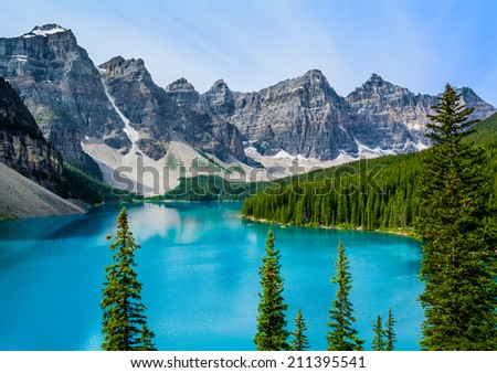 Moraine Lake in Banff National Park, Alberta, Canada  - stock photo