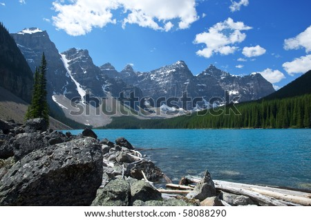 Moraine Lake in Banff National Park, Canada. - stock photo