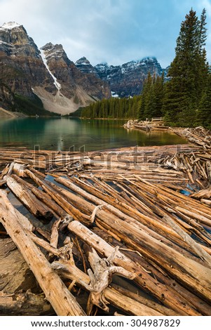 Moraine Lake in Banff National Park, Canada, Valley of the Ten Peaks  - stock photo
