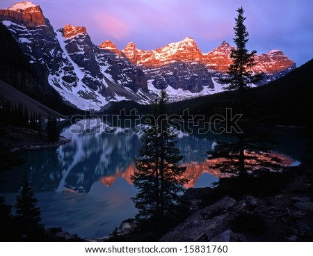 Moraine Lake in Banff National Park located in Alberta, Canada. - stock photo