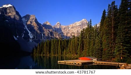Moraine Lake in Banff National Park located in Alberta Canada. - stock photo