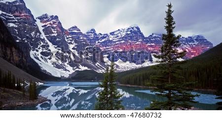 Moraine Lake in Banff National Park located in Alberta, Canada. - stock photo