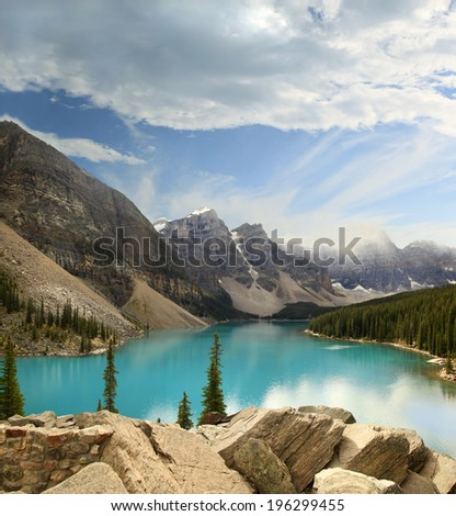 Moraine Lake in Banff Provincial Park, Alberta, Canada - stock photo