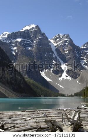 Moraine Lake in Lake Louise, Banff National Park, Alberta, Canada - stock photo
