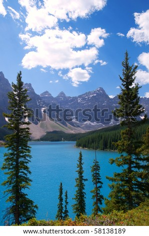 Moraine Lake in the afternoon. - stock photo
