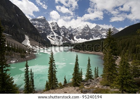 Moraine Lake in the month of May (Late Spring), Lake Louise, Banff National Park, Alberta, Canada - stock photo