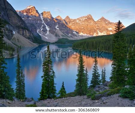 Moraine Lake in the morning light - stock photo