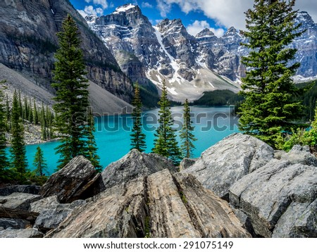 Moraine lake in the Valley of Ten Peaks, Banff National Park, Alberta, Canada. - stock photo
