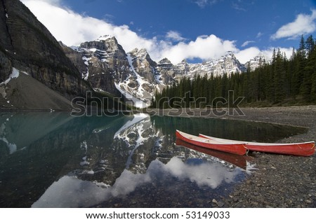 Moraine Lake in the Valley of the Ten Peaks, Banff National Park, Canada - stock photo
