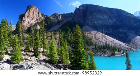 Moraine Lake of Banff National Park in Alberta, Canada - stock photo
