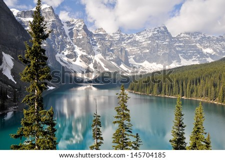 Moraine Lake, Rocky Mountains (Canada) - stock photo