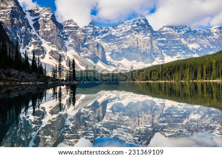 Moraine Lake, Rocky Mountains, Canada - stock photo