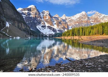 Moraine Lake Shore Morning - Banff National Park, Canadian Rockies, Alberta, Canada - stock photo