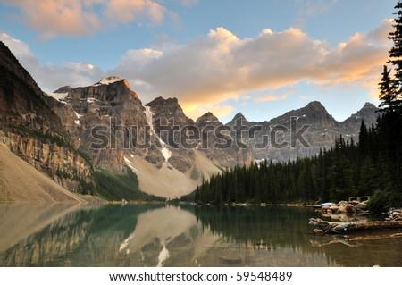 Moraine Lake Sunset, Banff National Park, Alberta, Canada - stock photo
