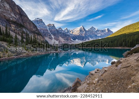 Moraine Lake with in the valley of ten peaks, Banff national park, Canada - stock photo