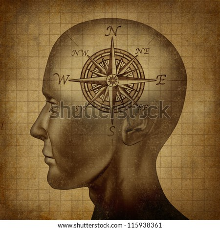 Moral compass and career path concept with a human head and a compass as a brain on a grunge old parchment texture as a concept of knowing what direction to follow in life and for business success. - stock photo