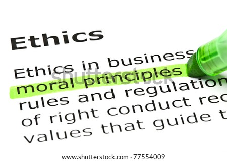 Moral principles highlighted in green, under the heading Ethics. - stock photo