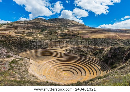 Moray, Incas ruins in the peruvian Andes at Cuzco Peru - stock photo