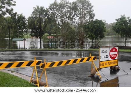 MORAYFIELD, AUSTRALIA - FEBRUARY 20: Cyclone Marcia causing flooding across parkland on Feburay 20, 2015 in Morayfield, Australia - stock photo