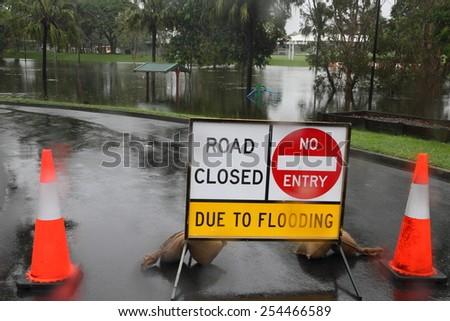 MORAYFIELD, AUSTRALIA - FEBRUARY 20: Cyclone Marcia causing flooding across parkland on Feburay 20, 2015 in Morayfield, Australia