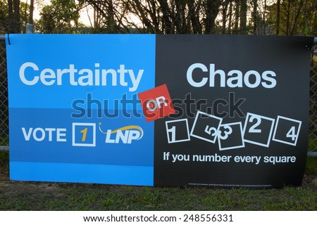 MORAYFIELD, AUSTRALIA - JANUARY 31: Queensland State Election LNP bunting anti preferential voting on January 31, 2015 in Morayfield, Australia - stock photo