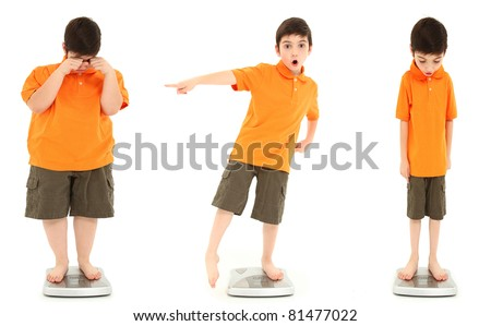 Morbidly obese child, extreme underwieght child and average child on scale over white. - stock photo