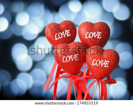 More Love and heart on abstract background - stock photo