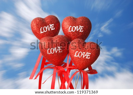 More love on the blue sky - stock photo