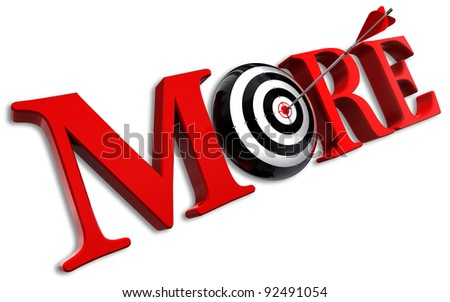 more red word and conceptual target with arrow on white background