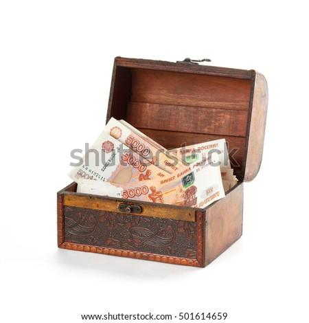 More russian money rubles in small wooden chest.