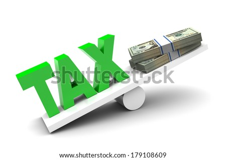 More Tax less money illustration on white background - stock photo