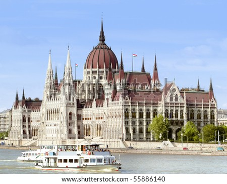 More than a hundred years ago built the Parliament Building in Budapest. - stock photo