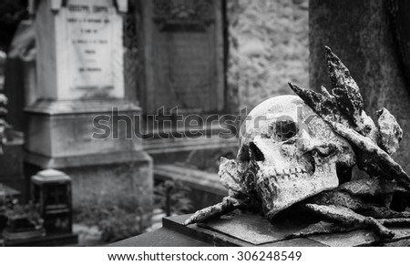 More than 100 years old statue. Cemetery located in North Italy. - stock photo
