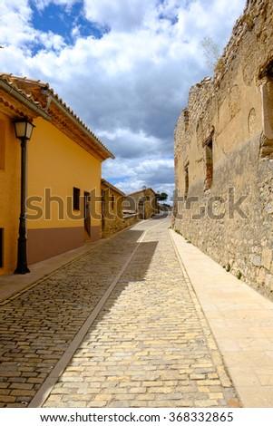 Morella narrow ancient street, the province of Castellon, Spain. - stock photo