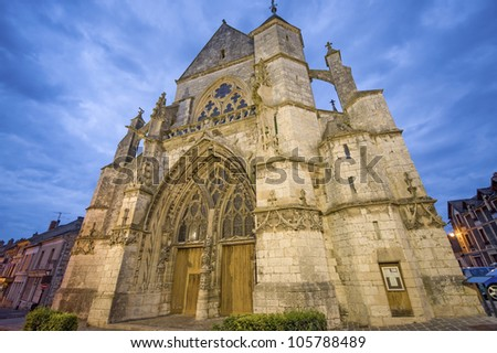 Moret-sur-Loing (Seine-et-Marne, Ile-de-France, France) - Exterior of the ancient church illuminated at night
