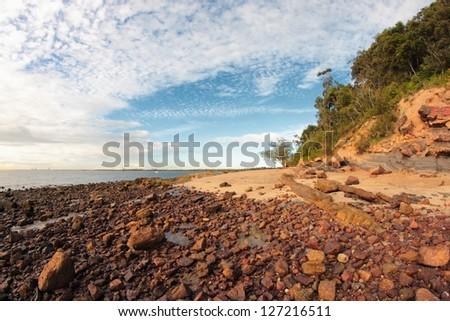 Moreton Bay Marine Park australian brisbane beach with a lot of unique rocks - stock photo