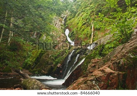 Morgan Falls in the Chequamegon National Forest in Northern Wisconsin (Horizontal Image) - stock photo
