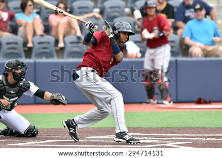 MORGANTOWN, WV - JUNE 21: Mahoning Valley Scrappers second baseman Willi Castro (2) bats during a NY-Penn League minor league baseball game June 21, 2015 in Morgantown, WV.