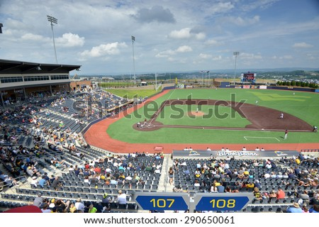 MORGANTOWN, WV - JUNE 21: Monongalia County Ballpark hosting a NY-Penn League minor league baseball game June 21, 2015 in Morgantown, WV.  - stock photo