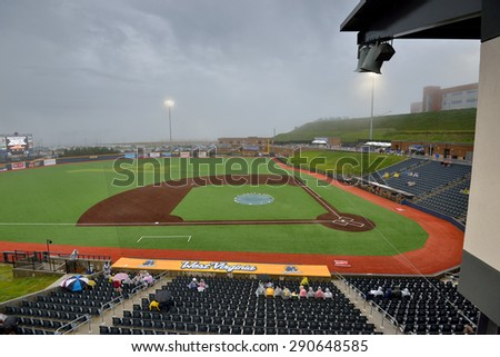 MORGANTOWN, WV - JUNE 20: Monongalia County Ballpark shown during a rain delay prior to a schedule minor league baseball game June 20, 2015 in Morgantown, WV.