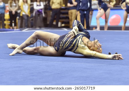 MORGANTOWN, WV - MARCH 8: WVU gymnast Alexa Goldberg   competes on the floor exercise during a dual meet March 8, 2015 in Morgantown, WV.