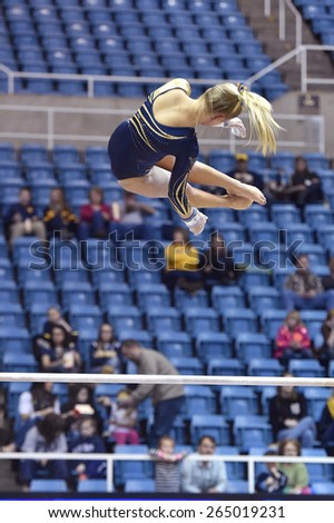 MORGANTOWN, WV - MARCH 8: WVU gymnast Lindsey Litten  competes on the uneven bars during a dual meet March 8, 2015 in Morgantown, WV.