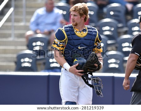 MORGANTOWN, WV - MAY 2: West Virginia catcher Garrett Hope (48) shown during a Big 12 conference baseball game May 2, 2015 in Morgantown, WV.  - stock photo